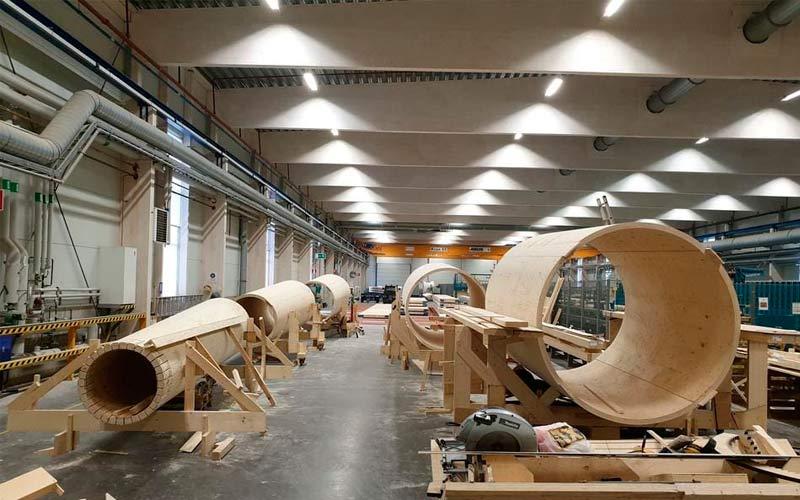 Módulos del aerogenerador de madera presentados por la compañía Modvion.