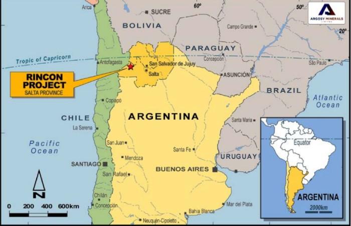 Figura 1. Ubicación del proyecto 'Rincón' de Argosy Minerals en Argentina