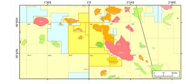 Mapa que muestra los prospectos del pozo Isabella
